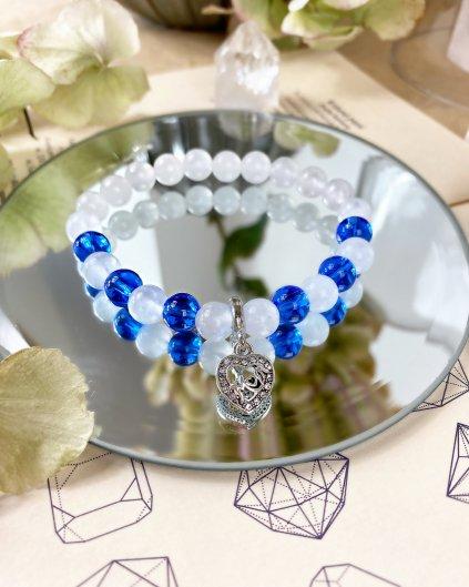 Náramek z minerálů pro maminky s jadeitem sněžným a modrým aragonitem