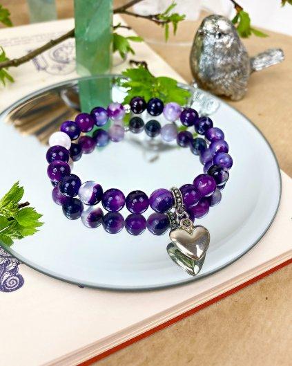 Náramek z minerálů pro maminky s fialovým achátem