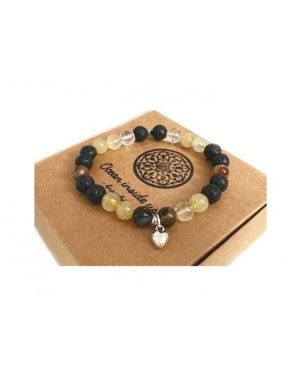 Náramek z minerálů citrín a lávového kamene s jemným srdíčkem