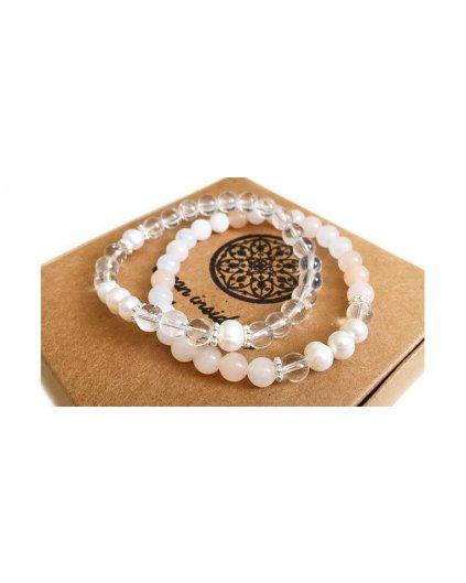 Dva náramky z minerálů s říční perlou - průzračná čistota
