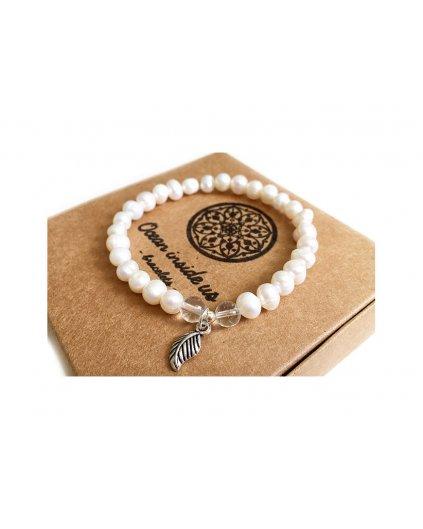 Náramek z minerálů s říční perlou a křišťálem - kouzlo čisté přírody