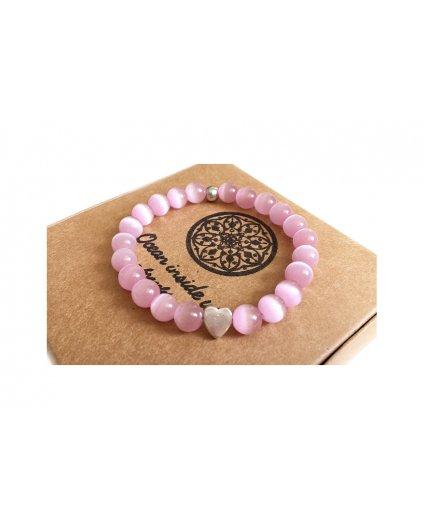 Náramek z minerálu růžový opál se srdcem - energie lásky