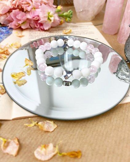 Náramek z minerálních kamenů mléčný, bílý křemen a růženín - čistota srdce