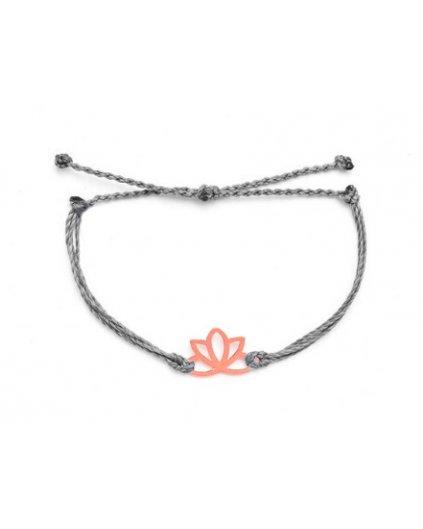 Jemný provázkový náramek šedý a květ lotosu