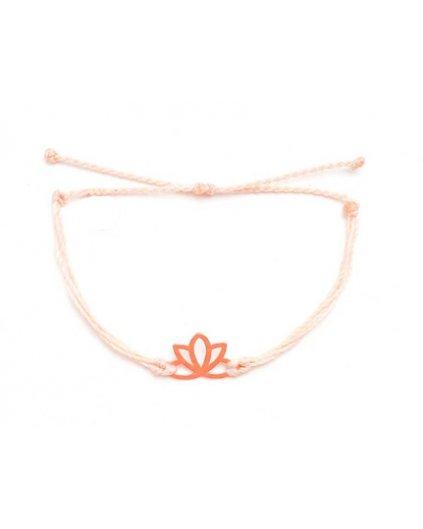 Jemný provázkový náramek starorůžový a květ lotosu