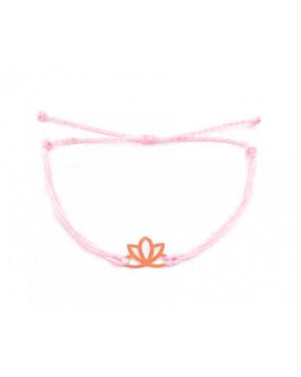 Jemný provázkový náramek růžový a květ lotosu