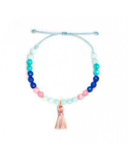Jemný provázkový náramek s barevnými korálky a střapečkem