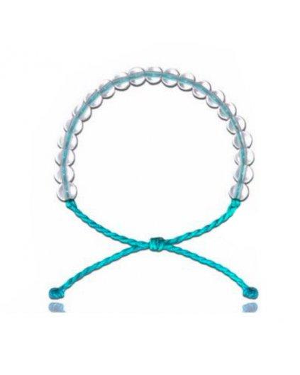 Jemný provázkový náramek s korálky čirého křišťálu - modrý