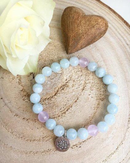 Náramek z minerálů z krásného akvamarínu a nefritu s lotosem