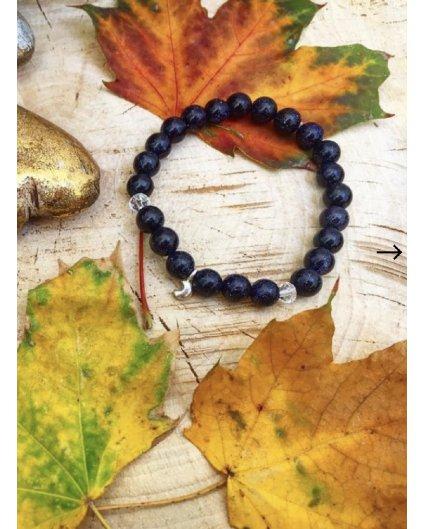 Náramek z minerálů lapis lazuli a měsíček