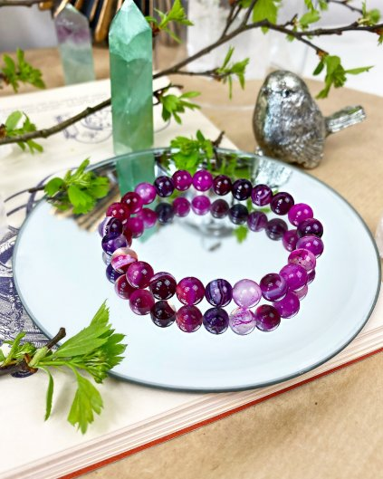 Náramek z minerálu jadeit růžovo-fialový
