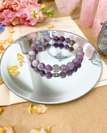 Náramek z minerálu tyrkysový fialový jadeit a strom života