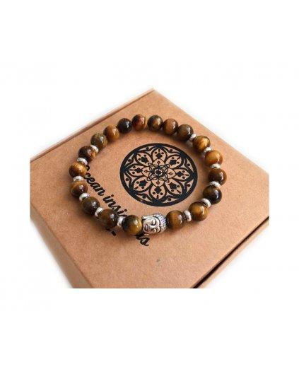 Buddha náramek z minerálu tygří oko a oválky