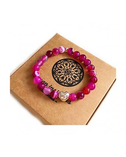Náramek z minerálu jadeit růžovo-fialový a Pandora srdíčko