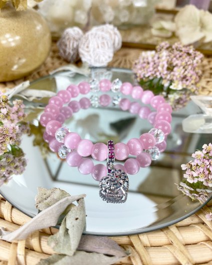 Náramek z minerálu růžový opál a srdíčko s luxusním stromem života