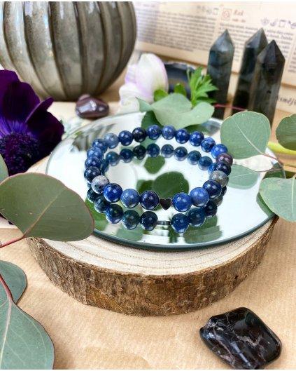 Náramek z minerálu modrý sodalit a partnerské srdce