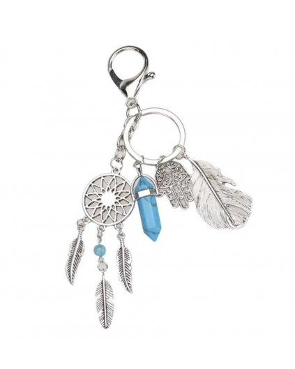 Přívěšek na klíče indiánský lapač snů, peříčka a tyrkys modrý