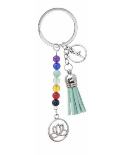 Čakrový přívěsek na klíče či batoh zelený