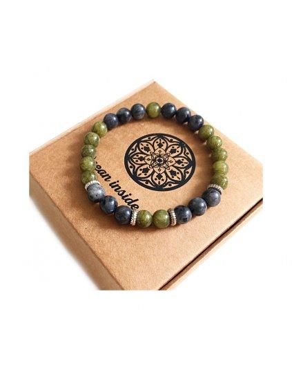 Náramek z minerálů zelený jadeit a labradorit