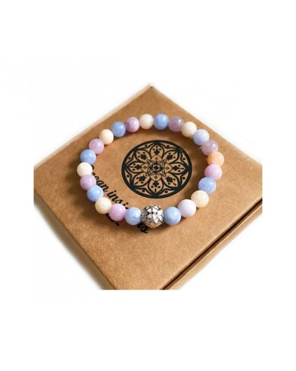 Náramek z minerálů angelit a luxusní korálek s kytičkou