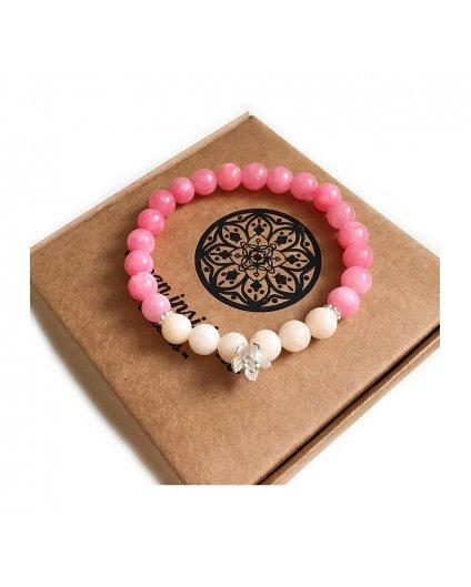 Náramek z minerálu jadeit růžový a luxusní květinka