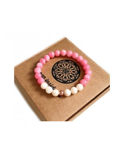 Náramek z minerálu jadeit růžový a sekaná rondelka