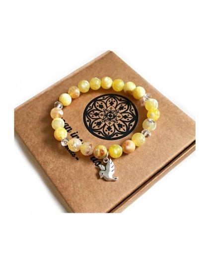 Náramek z minerálních kamenů achát žlutý a holubička