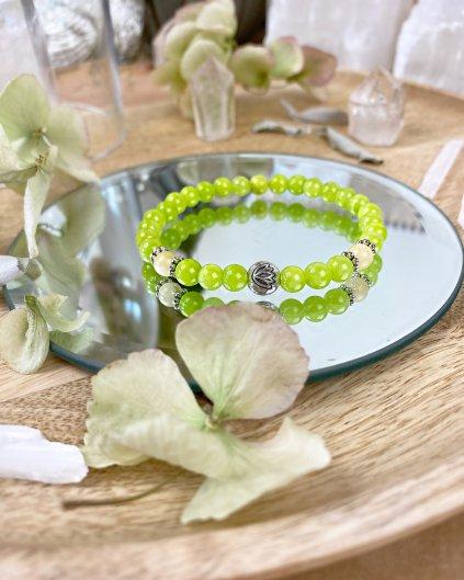Minerální náramek jadeit zelený a květ lotosu