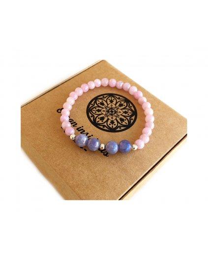 Náramek z minerálů angelit fialový a modrý leštěný