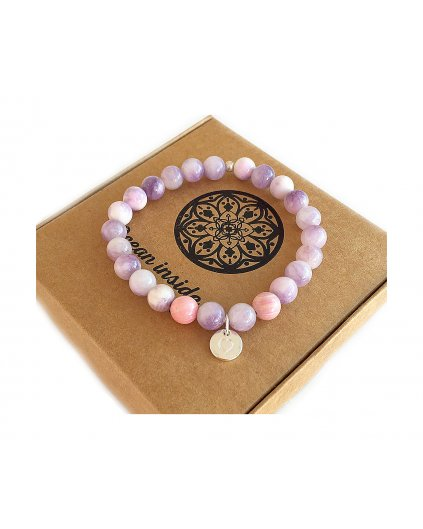 Náramek z minerálu jadeit fialový a srdíčko