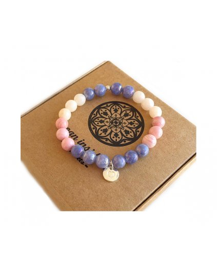Náramek z minerálů angelit modrý, chalcedon a srdíčko