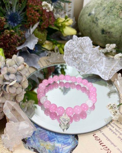 Náramek z minerálu jadeit růžový a nebeské srdce