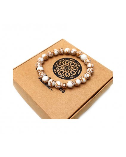 Náramek z polodrahokamů howlit bílý strukturovaný a perlička