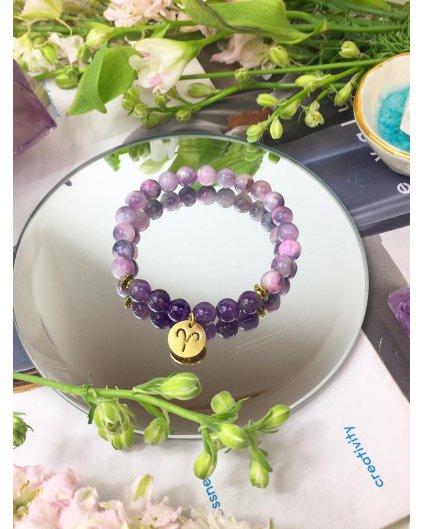 Náramek podle znamení beran jadeit fialový a ametyst