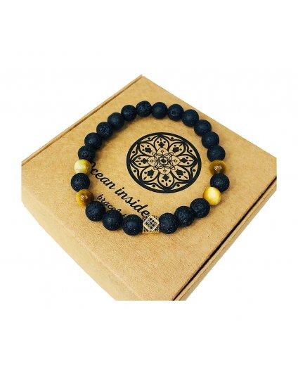 Luxusní náramek z lávových kamenů, žluté tygří oko a kostka