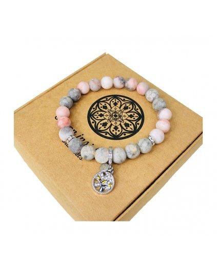 Luxusní náramek z polodrahokamu jaspis růžový, maifanit a strom života
