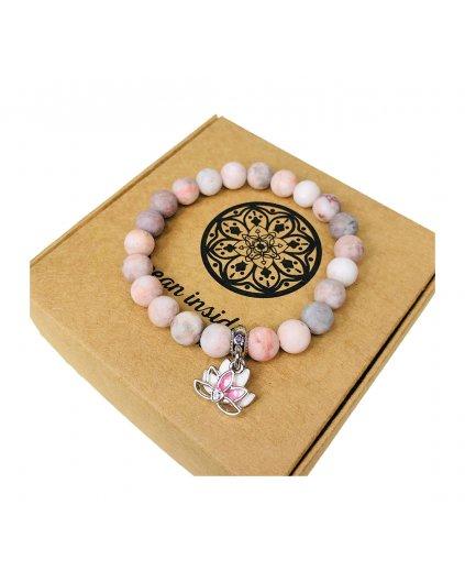 Luxusní náramek z polodrahokamu jaspis růžový zebrovaný a květ lotosu