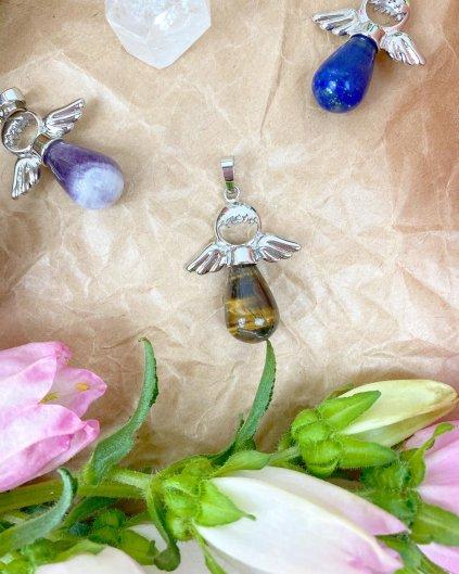 Přívěšek andílek na klíče pro štěstí z tygřího oka