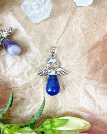 Přívěšek andílek na klíče pro štěstí z lapis lazuli