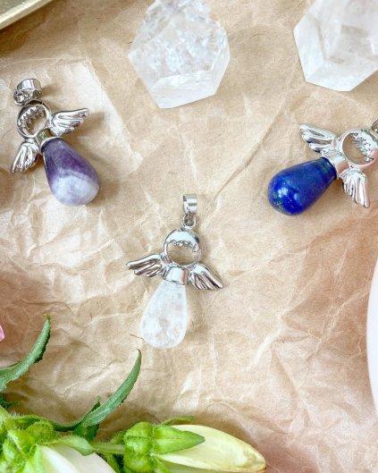 Přívěšek andílek na klíče pro štěstí z křišťálu
