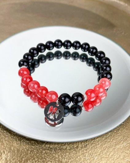 Náramek z minerálu obsidián, jadeit červený a andílek