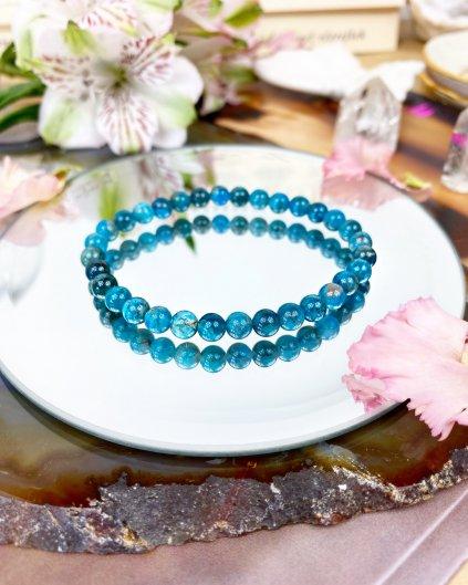Luxusní náramek z minerálu modrý apatit 6mm AAA kvalita