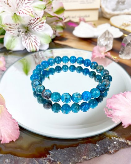 Luxusní náramek z minerálu modrý apatit 8mm AAA kvalita