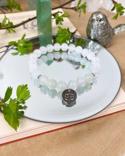Náramek pro znamení rak z měsíčního kamene a jadeitu