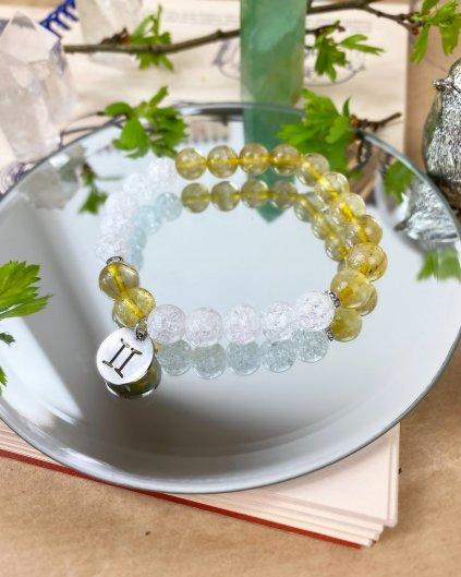Náramek pro znamení blíženci z citrínu a křišťálu