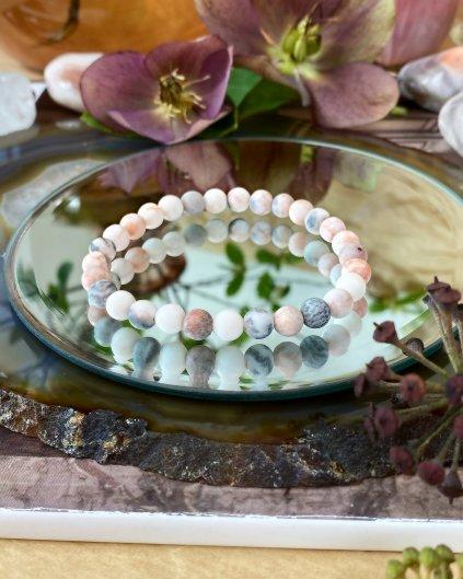 Luxusní náramek z polodrahokamu jaspis růžový zebrovaný 6mm