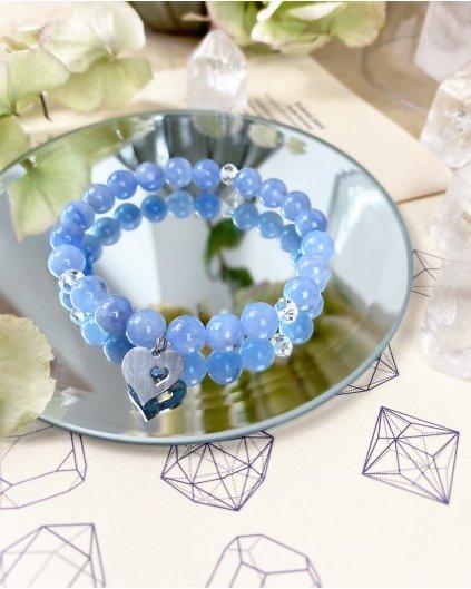 Náramek pro maminku z minerálu angelit modrý a srdce