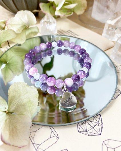 Náramek pro maminku z minerálu fialový jadeit a praskaný křišťál