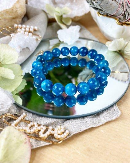 Luxusní náramek z minerálu modrý apatit 10mm AAA kvalita