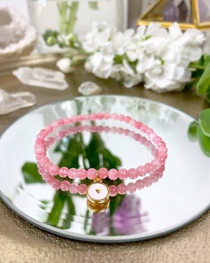 Náramek z minerálu jadeit růžový a luxusní srdíčko